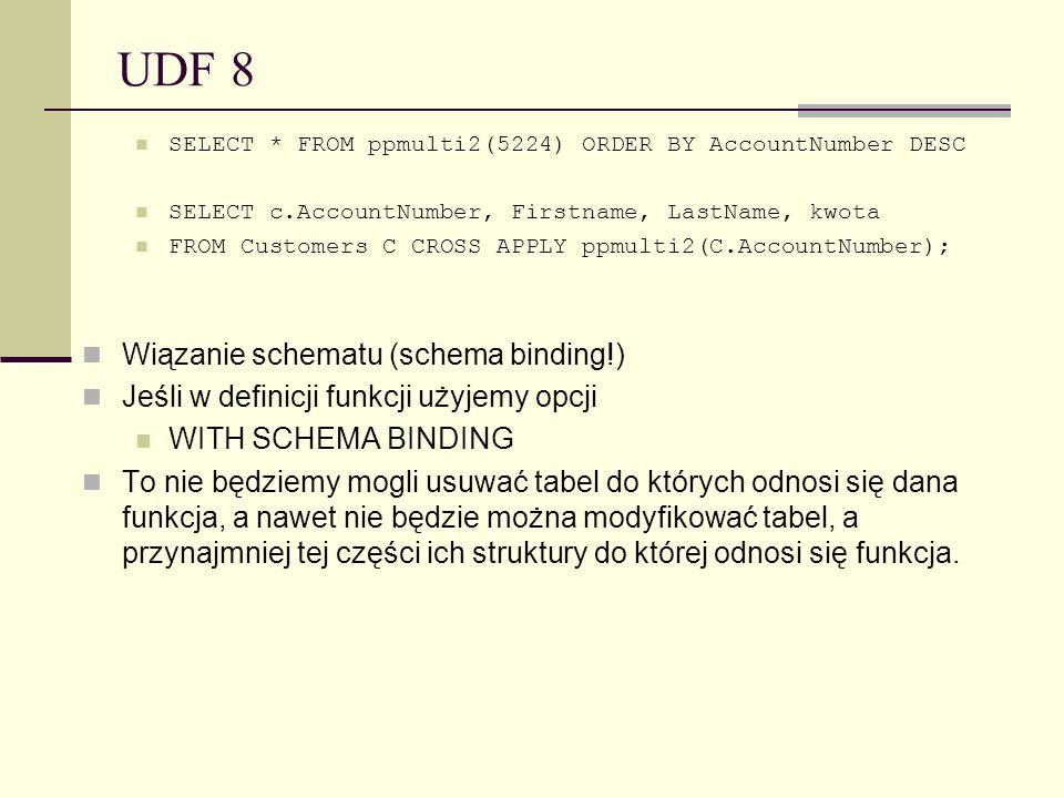 UDF 8 Wiązanie schematu (schema binding!)