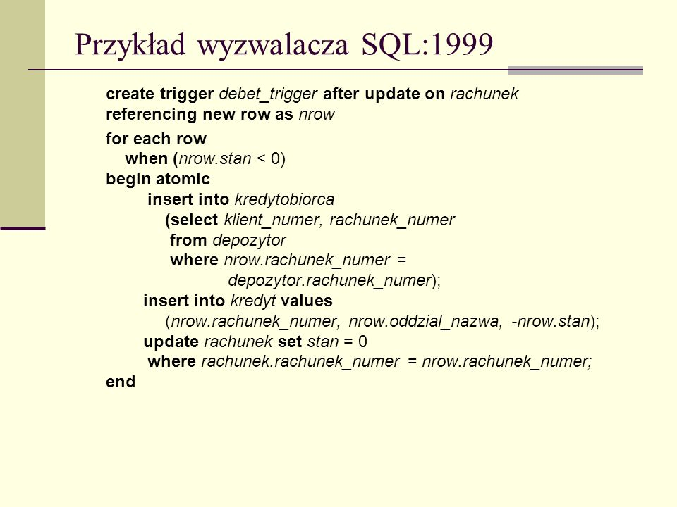 Przykład wyzwalacza SQL:1999
