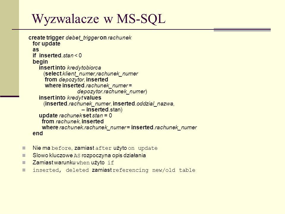 Wyzwalacze w MS-SQL Nie ma before, zamiast after użyto on update