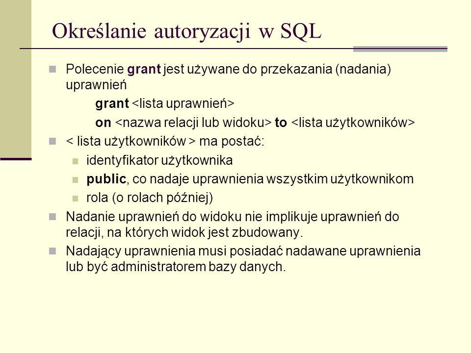 Określanie autoryzacji w SQL