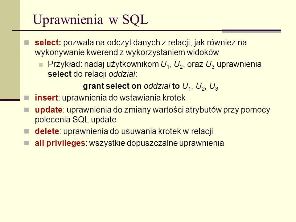Uprawnienia w SQL select: pozwala na odczyt danych z relacji, jak również na wykonywanie kwerend z wykorzystaniem widoków.