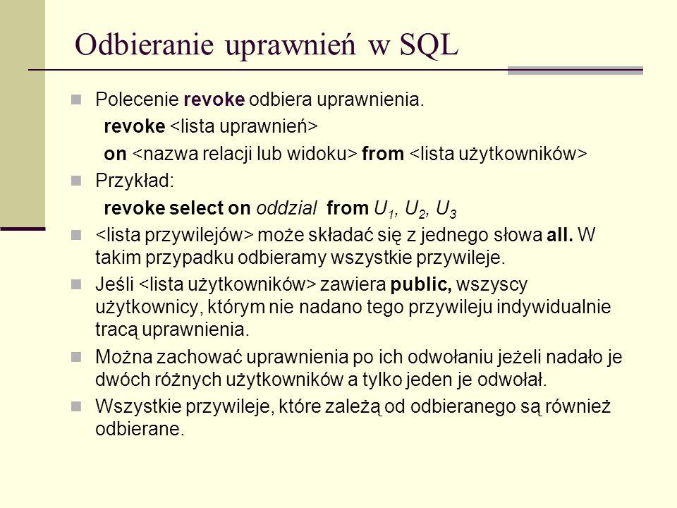 Odbieranie uprawnień w SQL