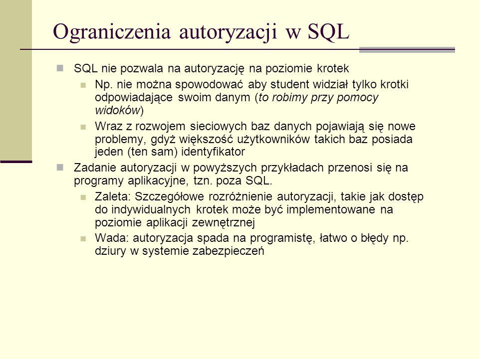 Ograniczenia autoryzacji w SQL
