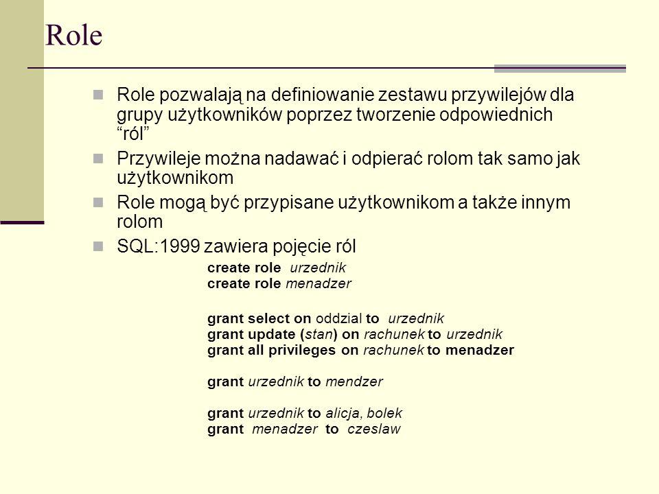 Role Role pozwalają na definiowanie zestawu przywilejów dla grupy użytkowników poprzez tworzenie odpowiednich ról