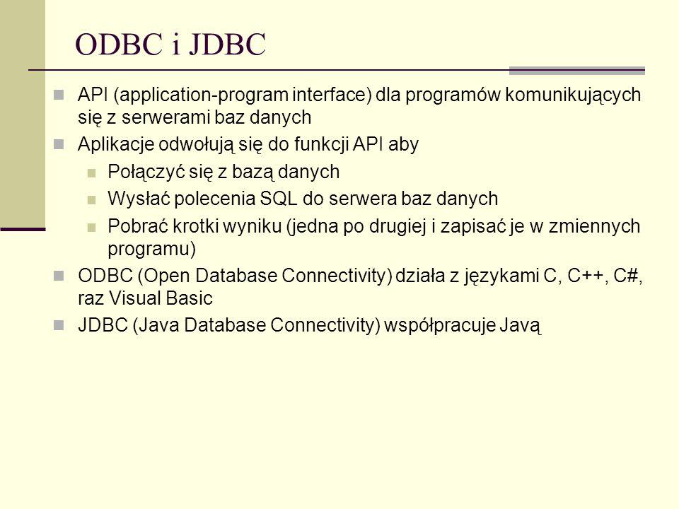 ODBC i JDBC API (application-program interface) dla programów komunikujących się z serwerami baz danych.
