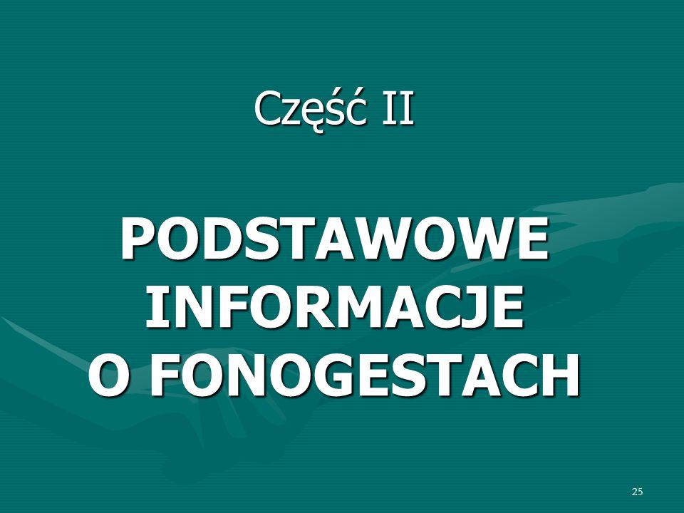 Część II PODSTAWOWE INFORMACJE O FONOGESTACH