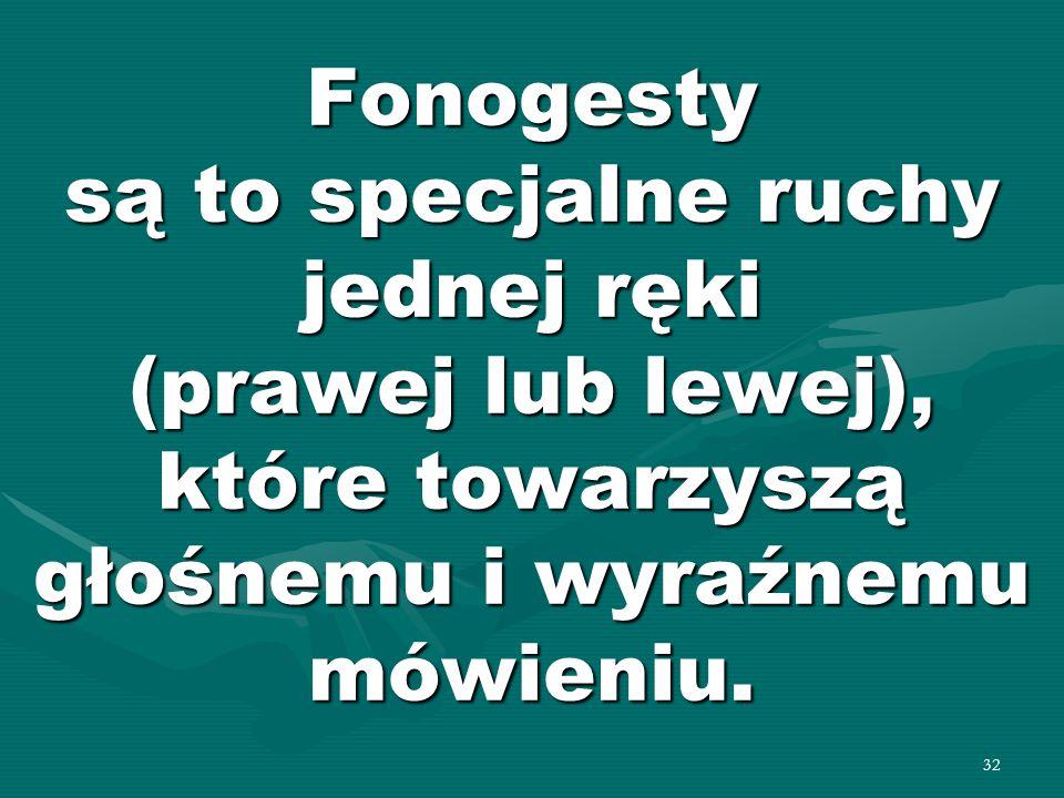 Fonogesty są to specjalne ruchy jednej ręki (prawej lub lewej), które towarzyszą głośnemu i wyraźnemu mówieniu.