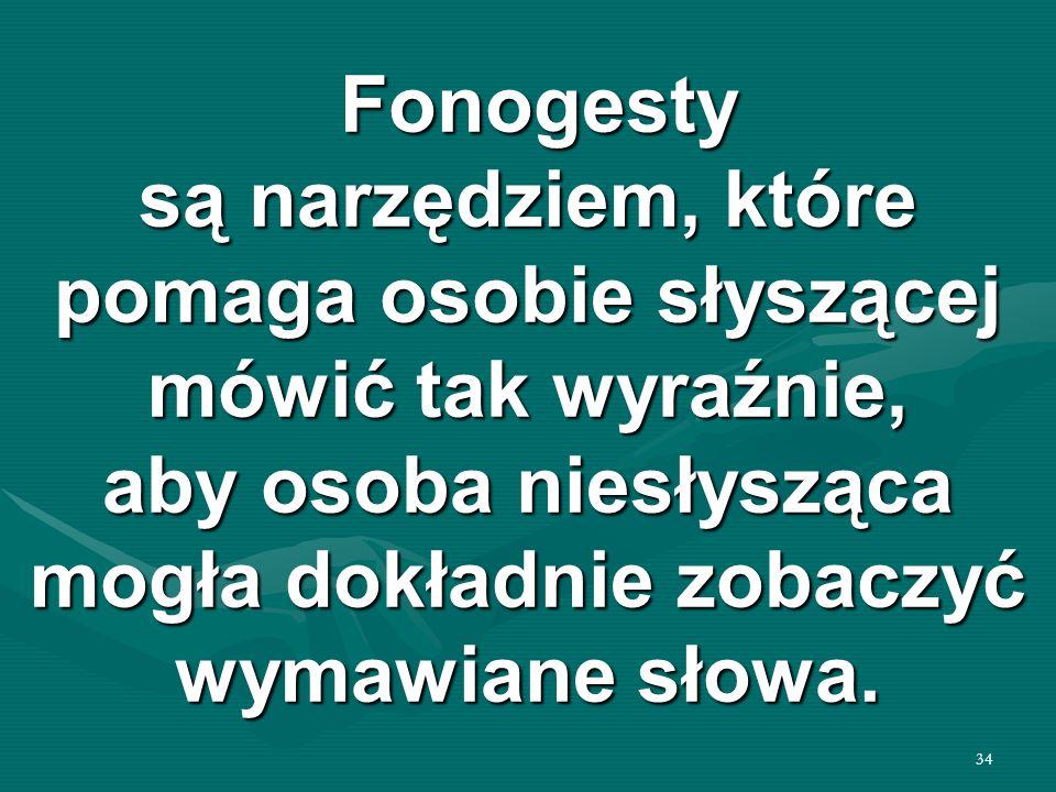 Fonogesty są narzędziem, które pomaga osobie słyszącej mówić tak wyraźnie, aby osoba niesłysząca mogła dokładnie zobaczyć wymawiane słowa.