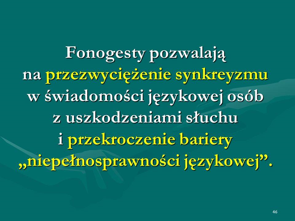 """Fonogesty pozwalają na przezwyciężenie synkreyzmu w świadomości językowej osób z uszkodzeniami słuchu i przekroczenie bariery """"niepełnosprawności językowej ."""