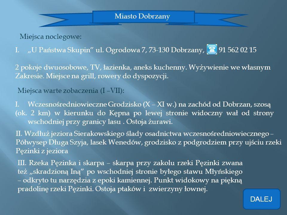 """Miasto Dobrzany Miejsca noclegowe: """"U Państwa Skupin ul. Ogrodowa 7, 73-130 Dobrzany, 91 562 02 15."""