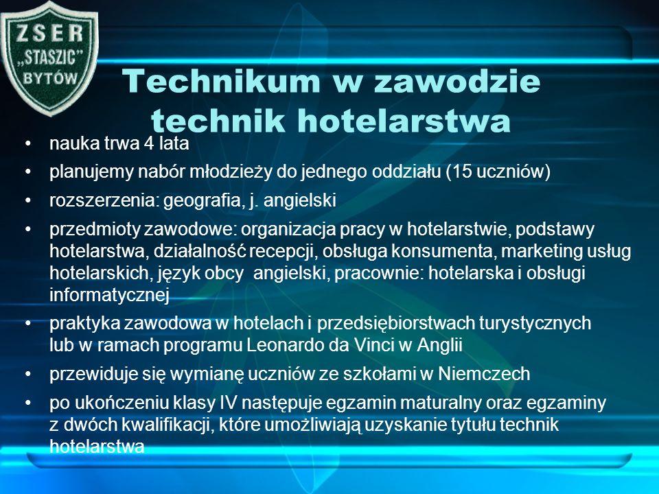 Technikum w zawodzie technik hotelarstwa