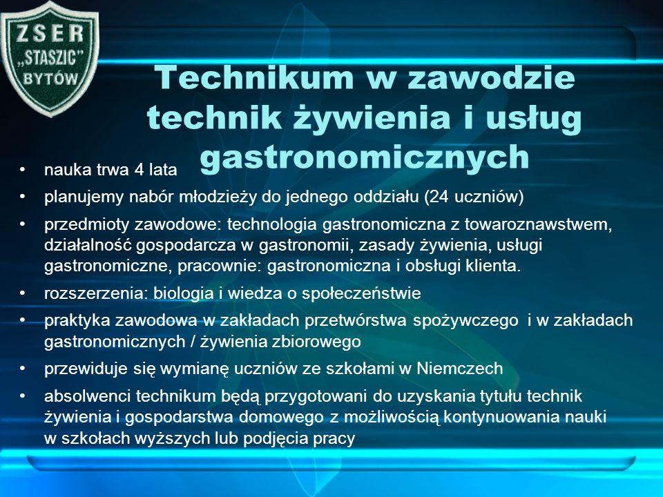 Technikum w zawodzie technik żywienia i usług gastronomicznych