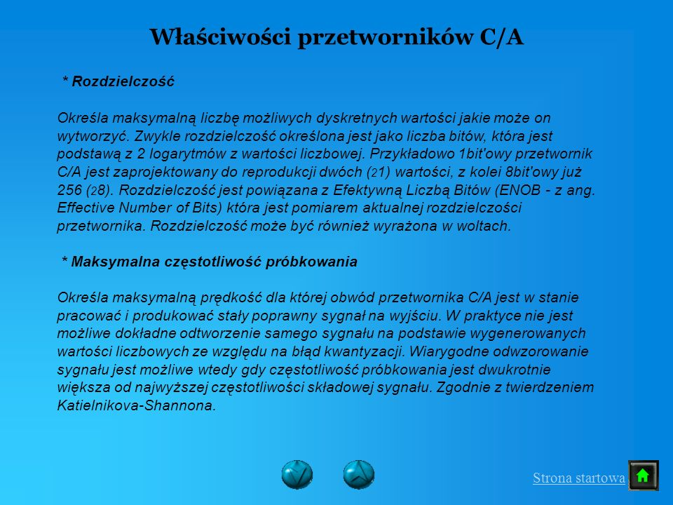 Właściwości przetworników C/A