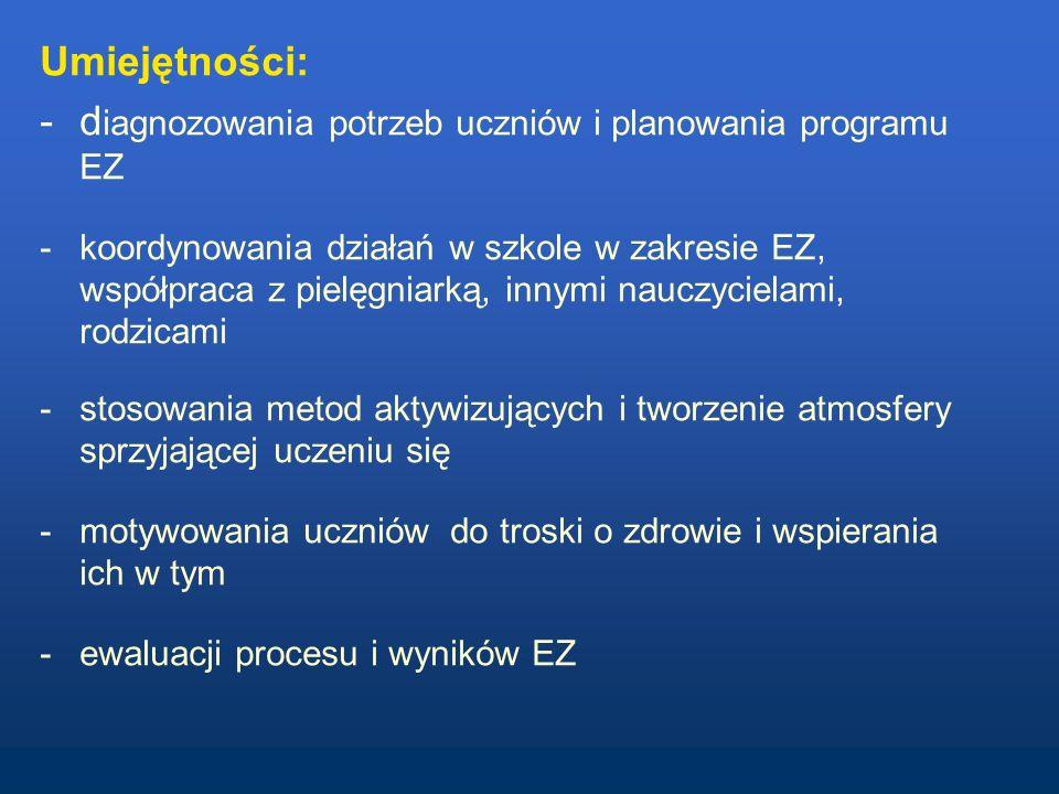 diagnozowania potrzeb uczniów i planowania programu EZ