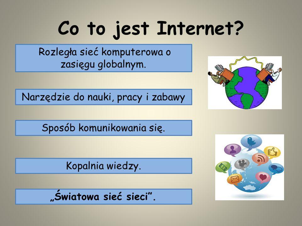 Co to jest Internet Rozległa sieć komputerowa o zasięgu globalnym.