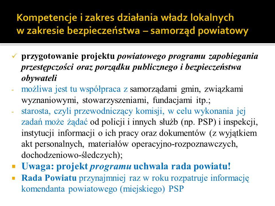 Kompetencje i zakres działania władz lokalnych w zakresie bezpieczeństwa – samorząd powiatowy