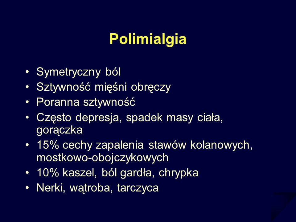 Polimialgia Symetryczny ból Sztywność mięśni obręczy Poranna sztywność