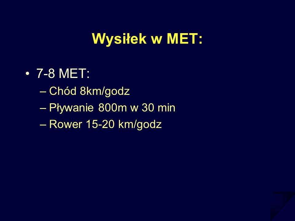 Wysiłek w MET: 7-8 MET: Chód 8km/godz Pływanie 800m w 30 min