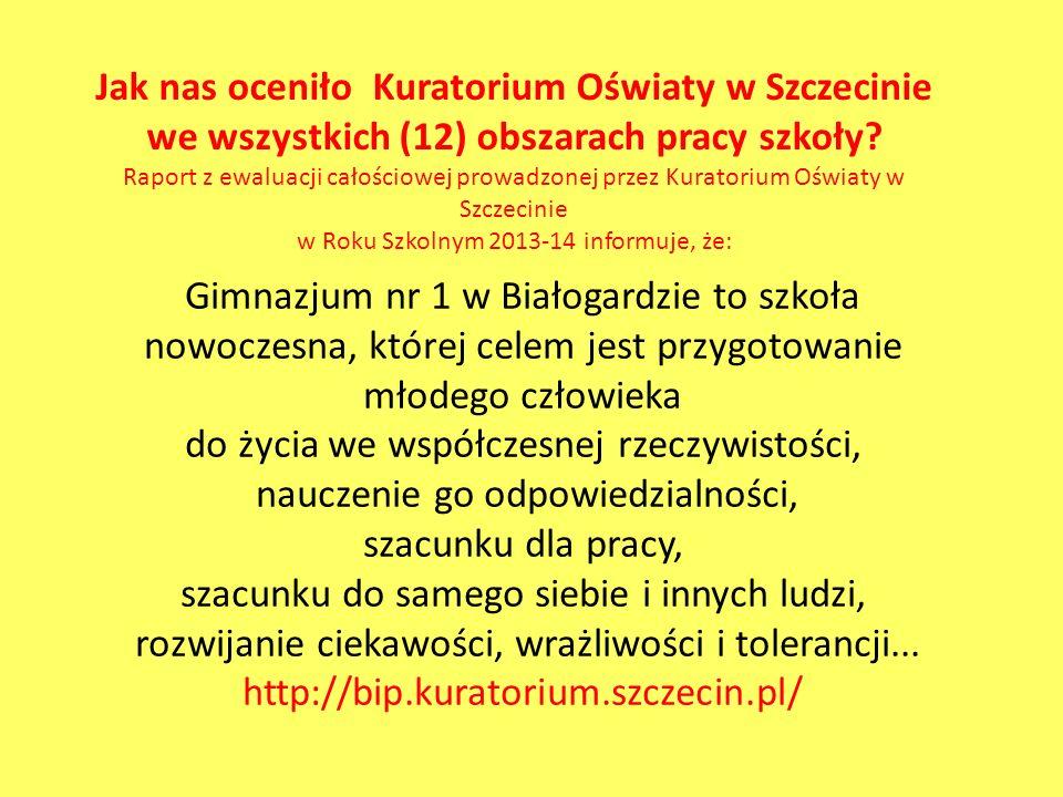 Jak nas oceniło Kuratorium Oświaty w Szczecinie we wszystkich (12) obszarach pracy szkoły