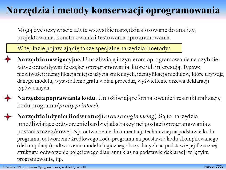 Narzędzia i metody konserwacji oprogramowania
