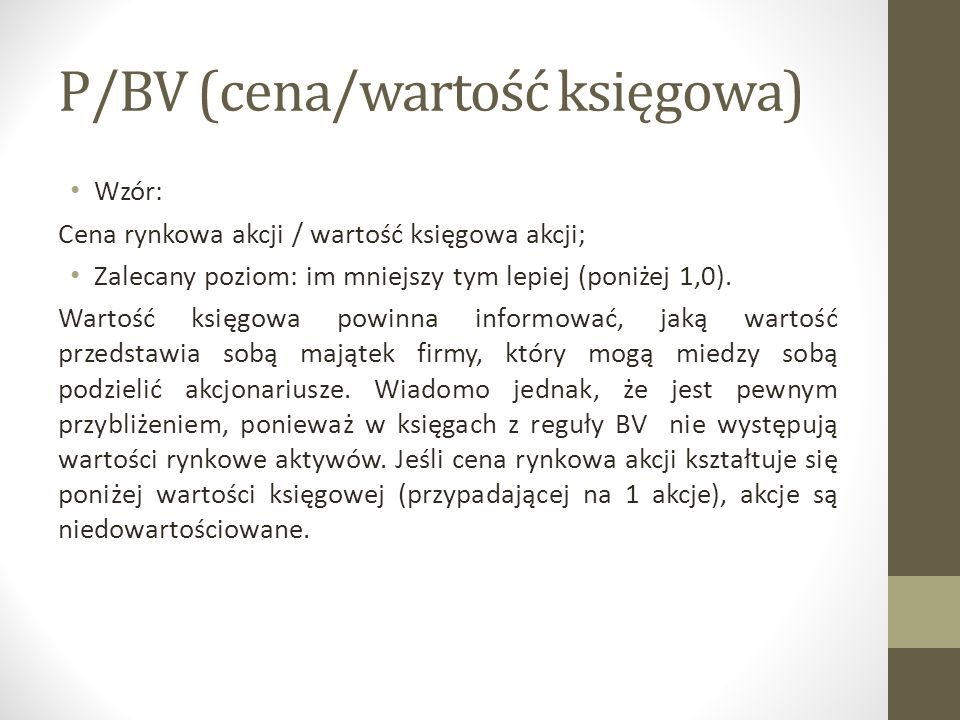 P/BV (cena/wartość księgowa)
