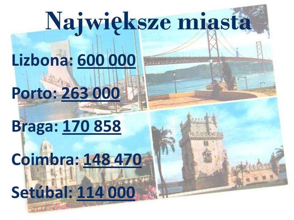 Największe miasta Lizbona: 600 000 Porto: 263 000 Braga: 170 858