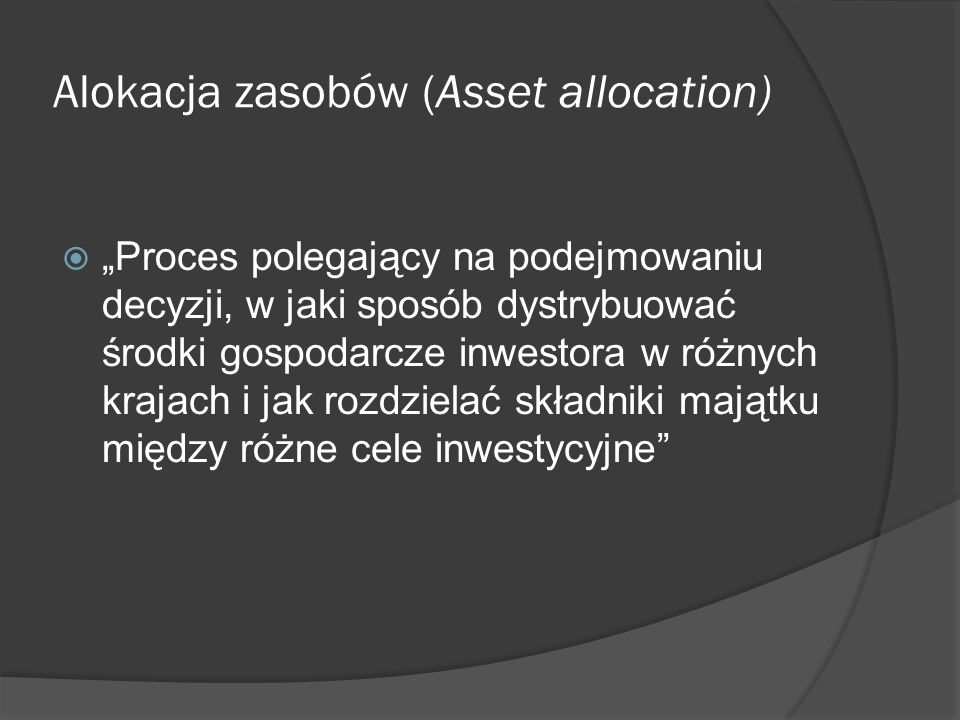 Alokacja zasobów (Asset allocation)