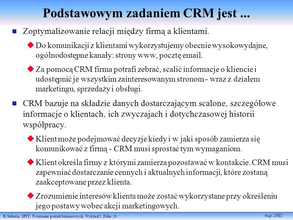 Podstawowym zadaniem CRM jest ...