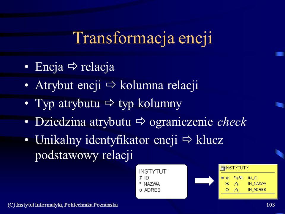 Transformacja encji Encja  relacja Atrybut encji  kolumna relacji