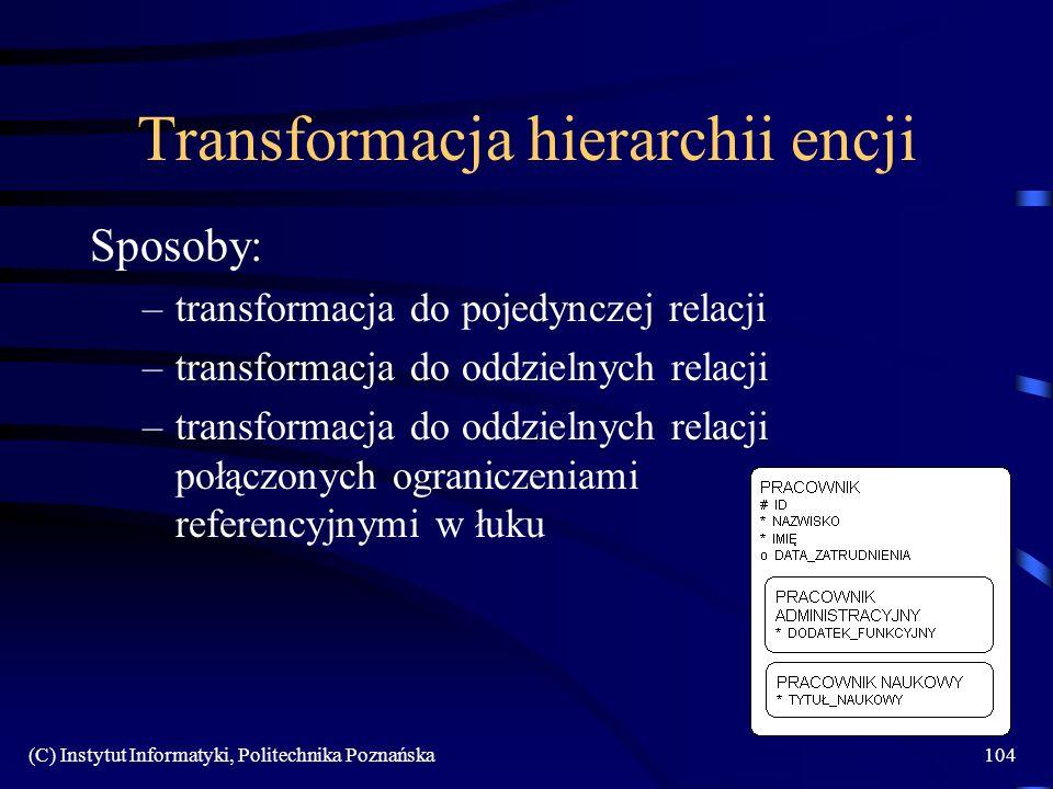 Transformacja hierarchii encji
