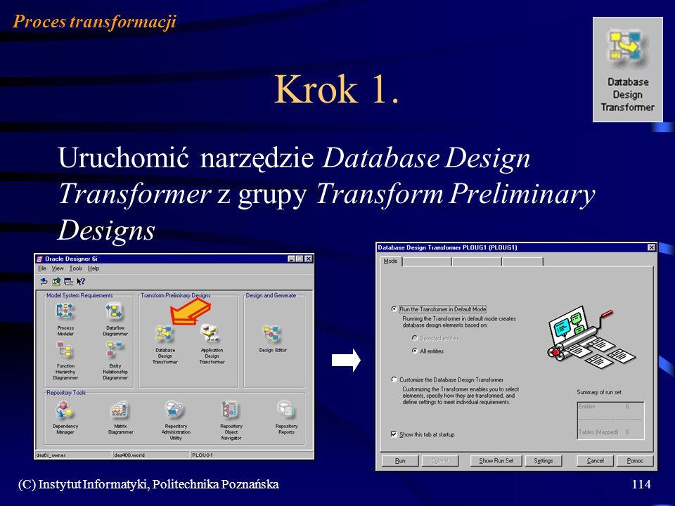 Proces transformacji Krok 1. Uruchomić narzędzie Database Design Transformer z grupy Transform Preliminary Designs.