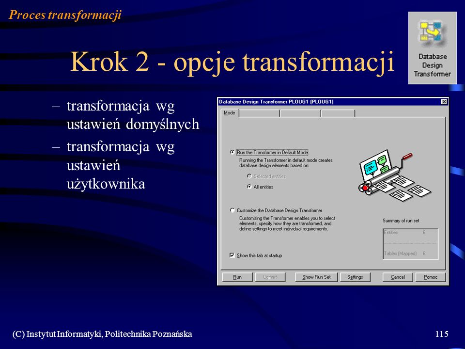 Krok 2 - opcje transformacji