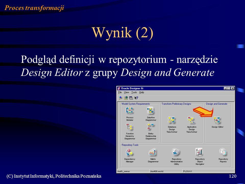 Proces transformacji Wynik (2) Podgląd definicji w repozytorium - narzędzie Design Editor z grupy Design and Generate.