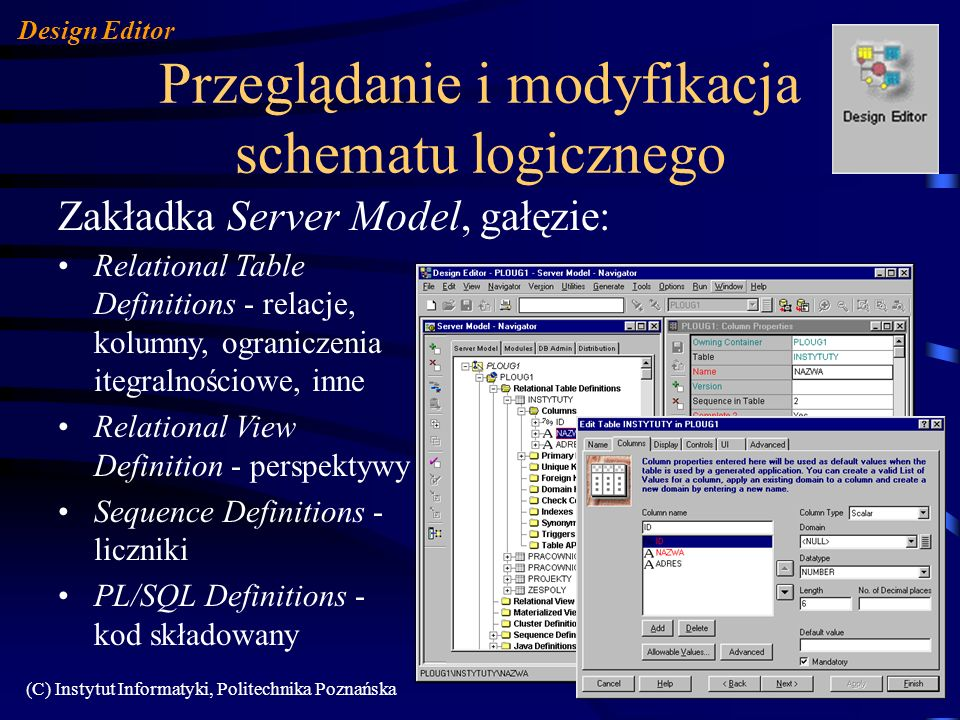 Przeglądanie i modyfikacja schematu logicznego