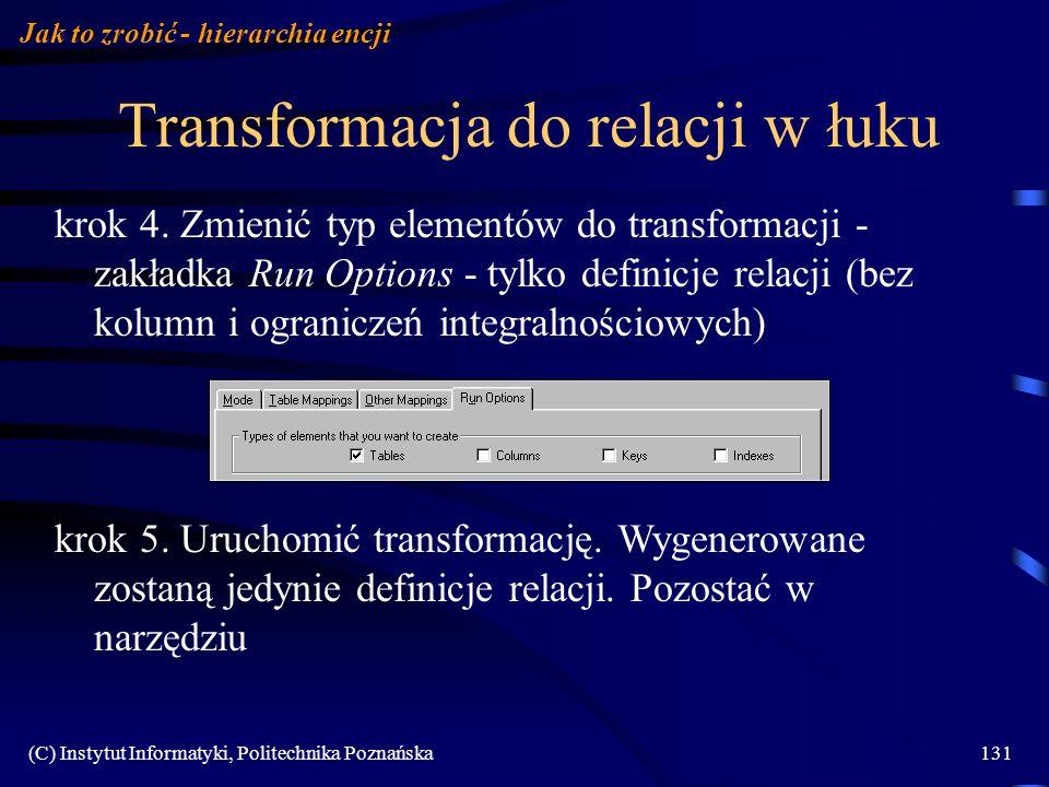 Transformacja do relacji w łuku