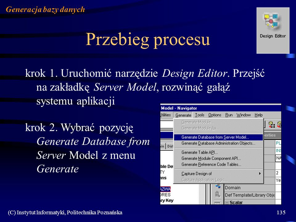 Generacja bazy danych Przebieg procesu.