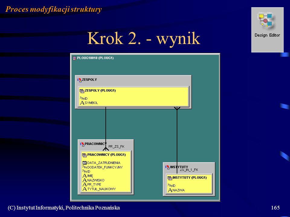 Krok 2. - wynik Proces modyfikacji struktury