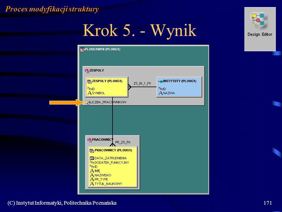 Krok 5. - Wynik Proces modyfikacji struktury