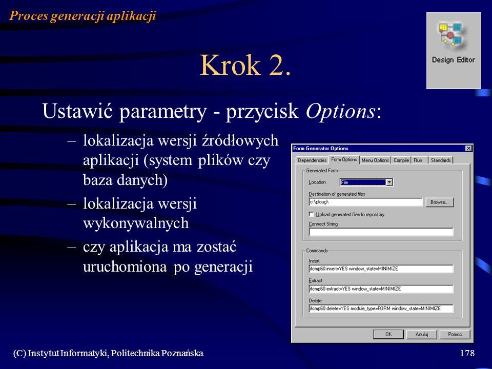 Krok 2. Ustawić parametry - przycisk Options: