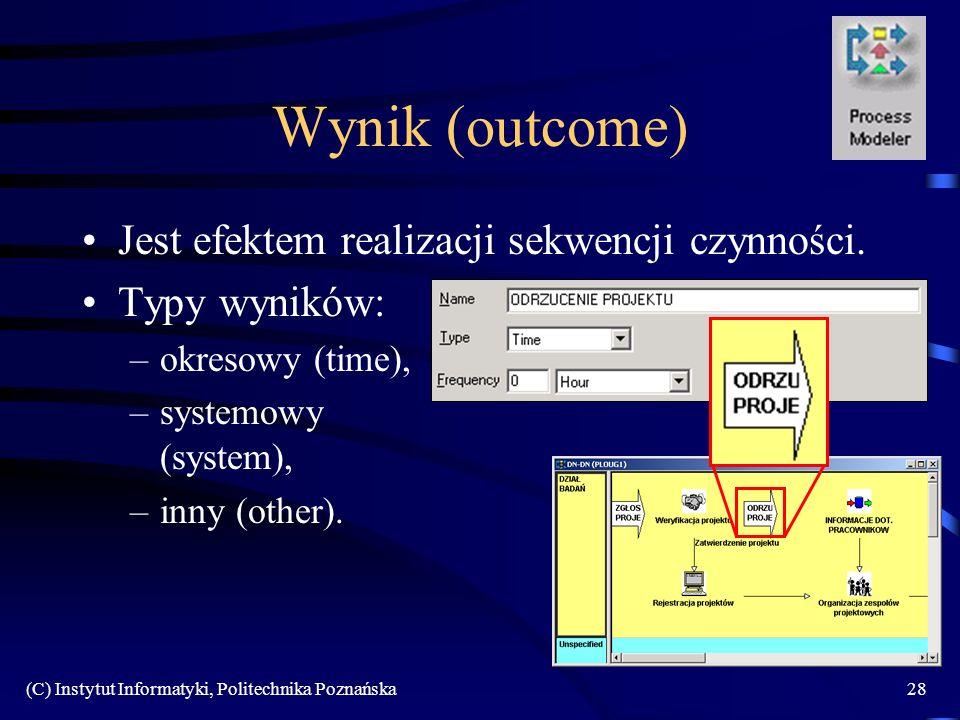 Wynik (outcome) Jest efektem realizacji sekwencji czynności.
