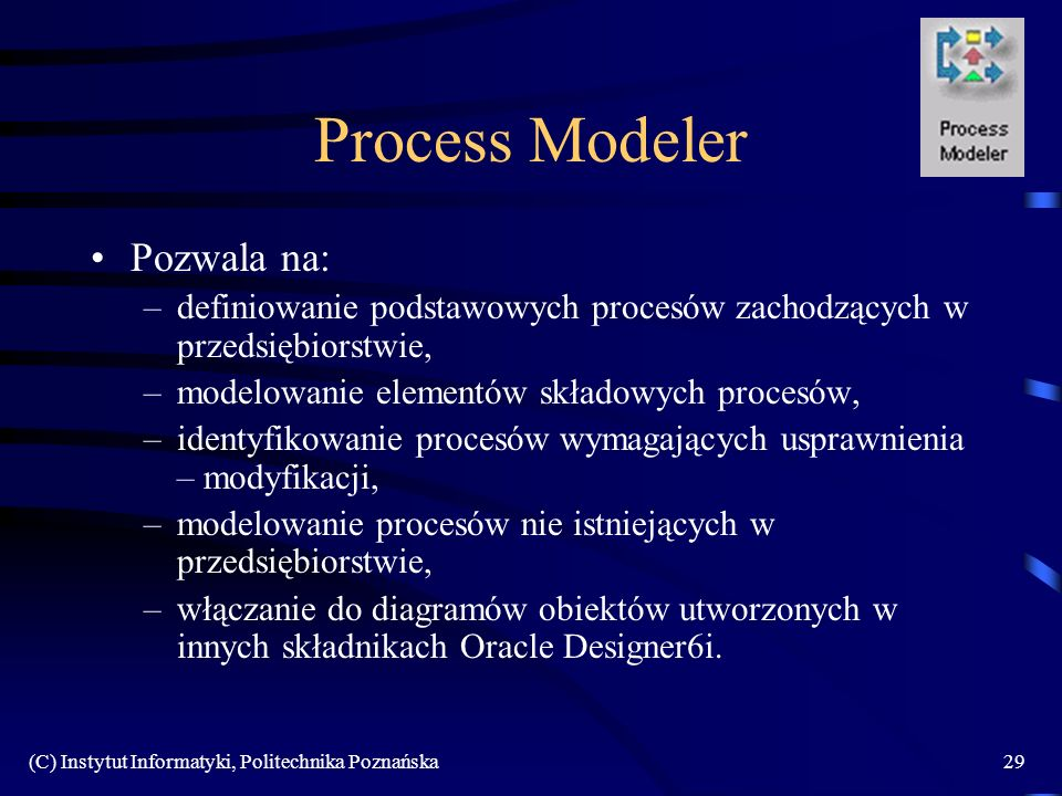 Process Modeler Pozwala na: