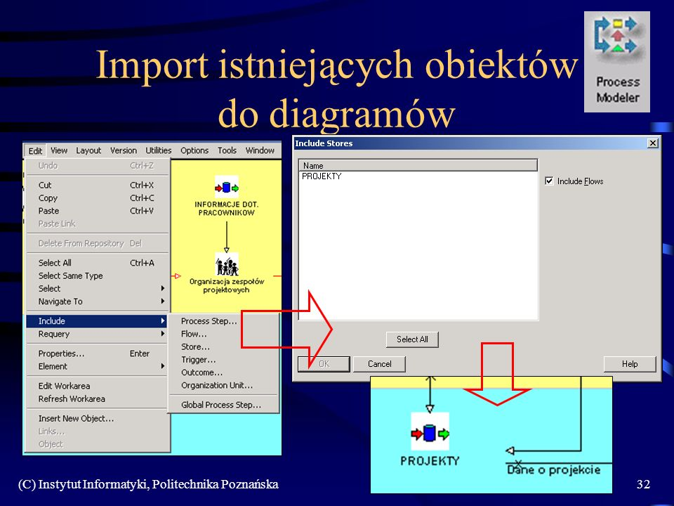 Import istniejących obiektów do diagramów