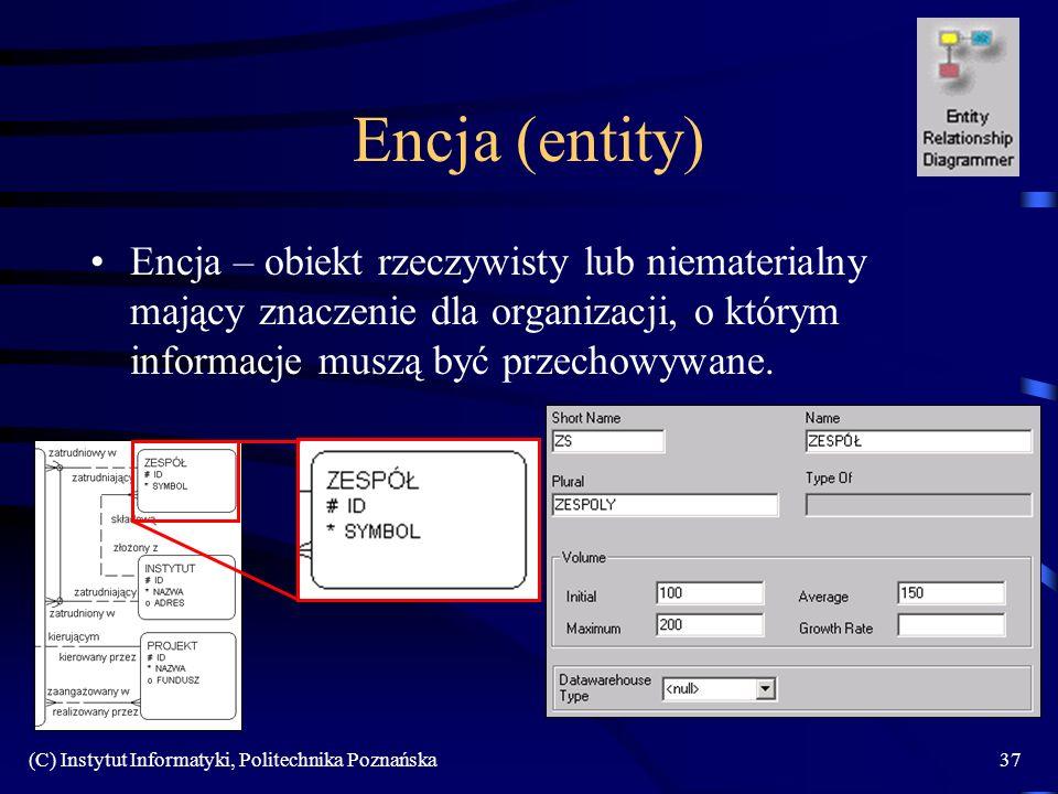 Encja (entity) Encja – obiekt rzeczywisty lub niematerialny mający znaczenie dla organizacji, o którym informacje muszą być przechowywane.