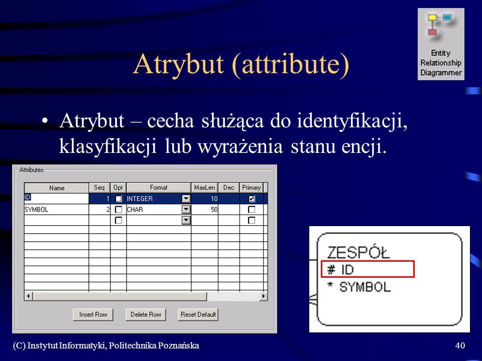 Atrybut (attribute) Atrybut – cecha służąca do identyfikacji, klasyfikacji lub wyrażenia stanu encji.
