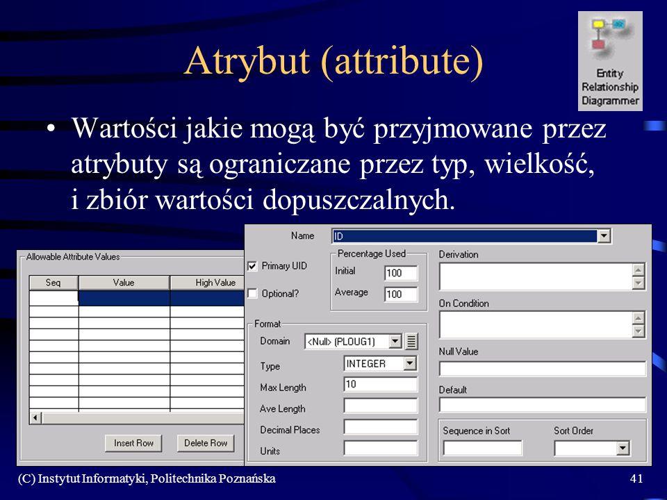Atrybut (attribute) Wartości jakie mogą być przyjmowane przez atrybuty są ograniczane przez typ, wielkość, i zbiór wartości dopuszczalnych.