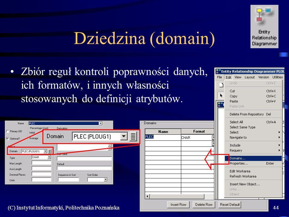 Dziedzina (domain) Zbiór reguł kontroli poprawności danych, ich formatów, i innych własności stosowanych do definicji atrybutów.