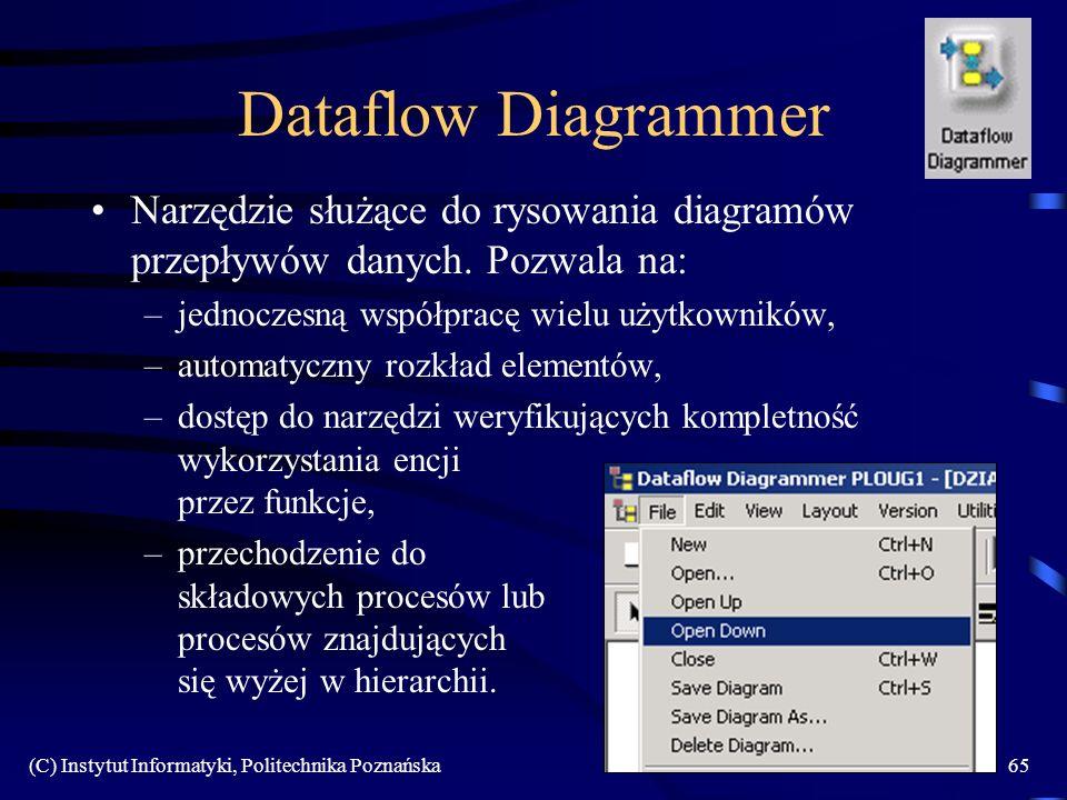 Dataflow Diagrammer Narzędzie służące do rysowania diagramów przepływów danych. Pozwala na: jednoczesną współpracę wielu użytkowników,
