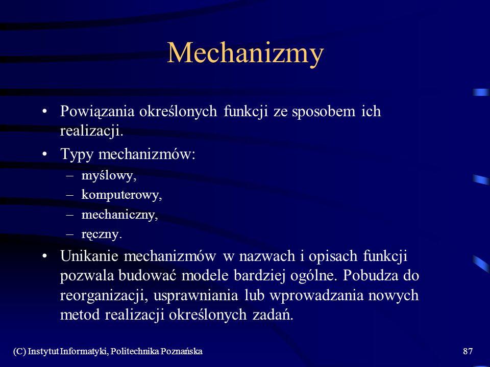 Mechanizmy Powiązania określonych funkcji ze sposobem ich realizacji.