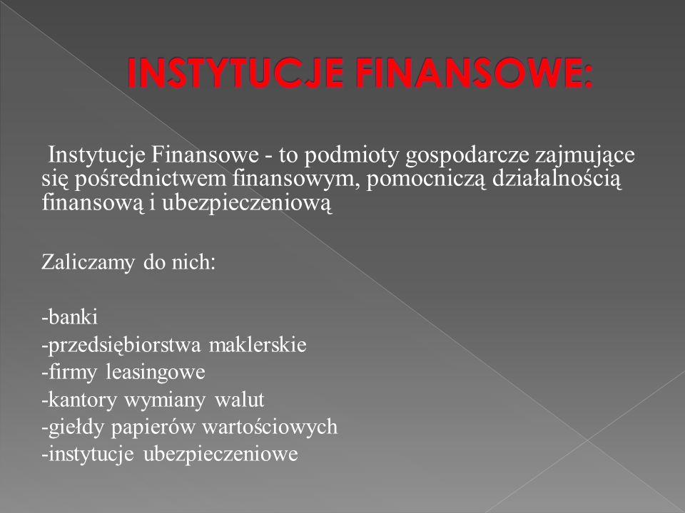 INSTYTUCJE FINANSOWE: