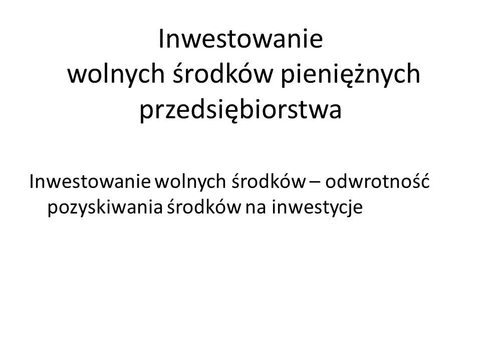 Inwestowanie wolnych środków pieniężnych przedsiębiorstwa